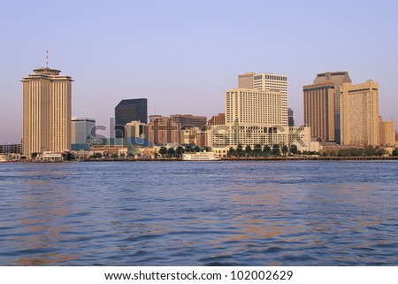 New Orleans skyline, seen from the Mississippi River - stock photo