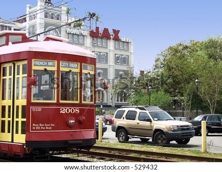 New Orleans streetcar - stock photo