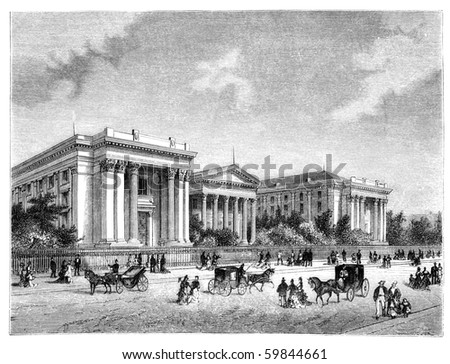 "New Orleans University in the 1880s. Illustration originally published in Hesse-Wartegg's ""Nord Amerika"", swedish edition published in 1880. - stock photo"