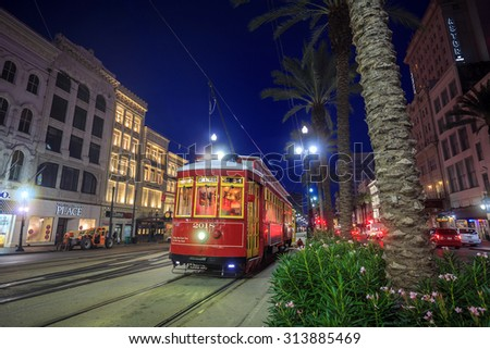 NEW ORLEANS, USA - AUGUST 22: New Orleans Streetcar Line at downtown New Orleans on August 22, 2015. The New Orleans Streetcar line began electric operation in 1893. - stock photo