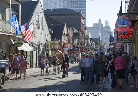 NEW ORLEANS USA - CIRCA 2014 - Tourists in the French Quarter of this city of jazz