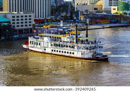 NEW ORLEANS USA 25.JAN. 2016:Wonderful aerial city view. New Orleans attracts 10 million tourists annually. - stock photo