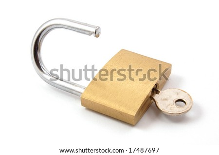 new padlock isolated on a white background. - stock photo