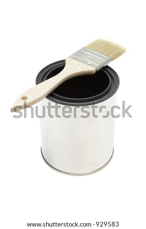 New paint brush and bucket - stock photo