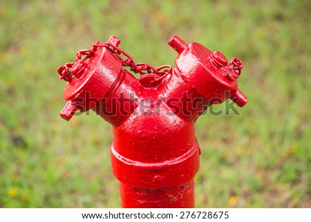 New painted red hydrant - stock photo