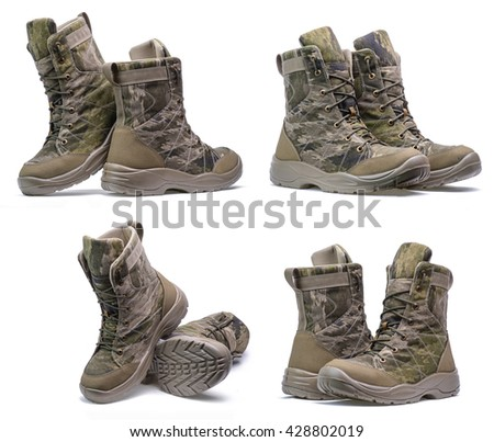 New pair of army boots on a white background.Collage/Pair of army boots.Collage - stock photo
