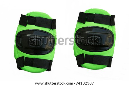 New Pair of knee protectors isolated on a white background - stock photo