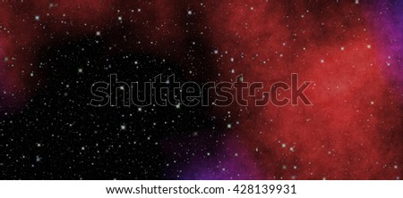 New panoramic looking into deep space. Secrets and mysteries of the universe. Dark night sky full of stars. The nebula in outer space. - stock photo