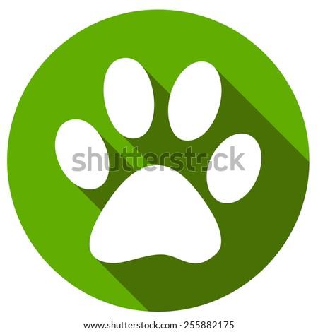 New Paw icon button flat - stock photo