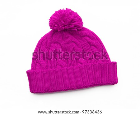 New Pink Knit Wool Hat with Pom Pom isolated on white background - stock photo