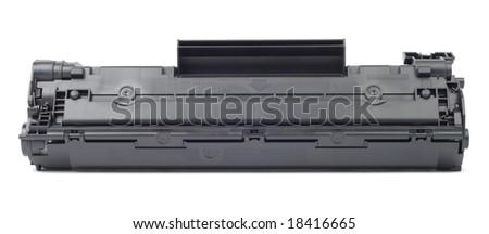 New plastic black cartridge isolated over white - stock photo