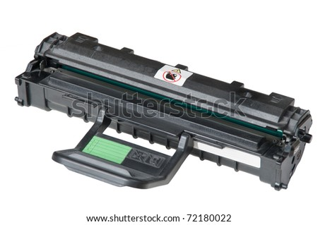New plastic black printer cartridge isolated with clipping path over white - stock photo