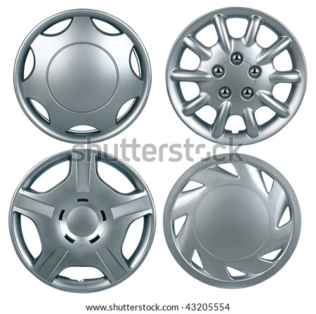 New plastic hubcap isolated on white background - stock photo