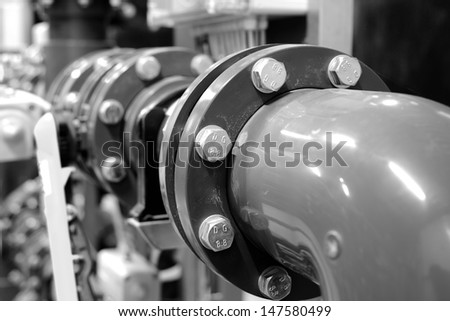 new plastic pipes in industrial boiler room - stock photo