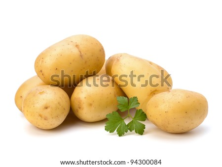 New potato and green parsley isolated on white background close up - stock photo