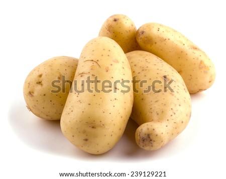 New potatoes isolated on white background cutout - stock photo