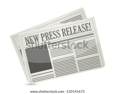 new press release illustration design over white - stock photo