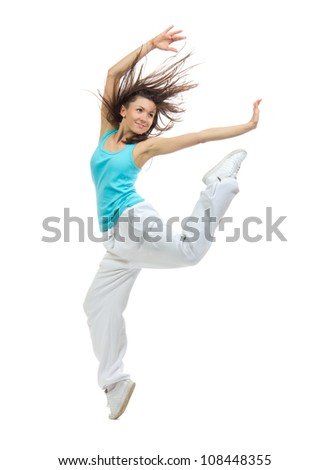 New pretty modern slim hip-hop style teenage girl jumping dancing isolated on a white studio background - stock photo