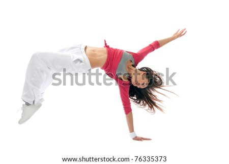 New pretty modern slim hip-hop style woman dancer break dancing isolated on a white studio background - stock photo