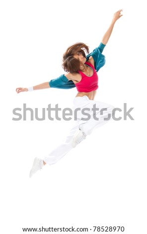 New pretty modern slim hip-hop style woman dancer break jumping dancing isolated on a white studio background