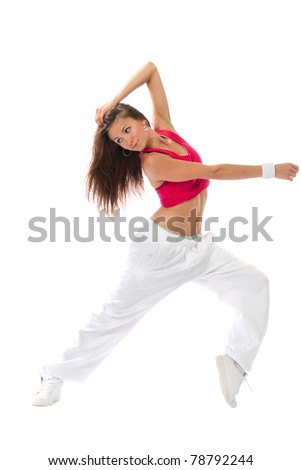 New pretty modern slim hip-hop style woman dancer dancing pose  isolated on a white studio background - stock photo