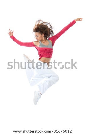New pretty modern slim hip-hop style woman dancer jumping and dancing isolated on a white studio background - stock photo
