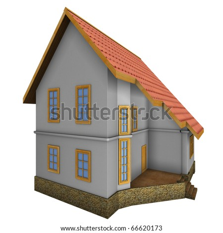 New private family house. 3d illustration. Isolated on white, with clipping path.