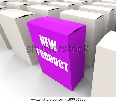 New Product Box Indicating Newness and Advertisement - stock photo
