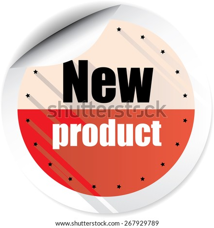 New Product Red Stickers And Labels. - stock photo