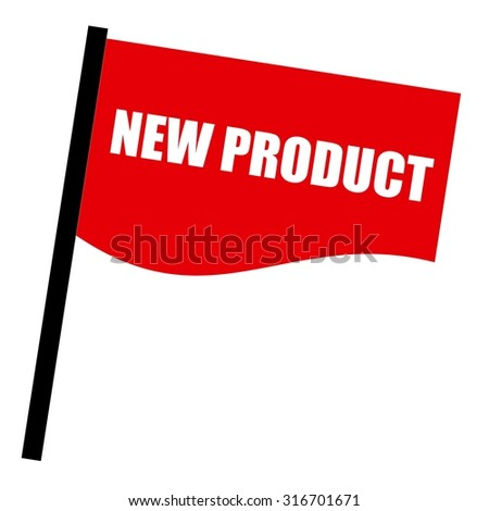 New product white stamp text on red flag