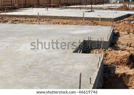 New Property Home Foundation Construction with conrete slab - stock photo