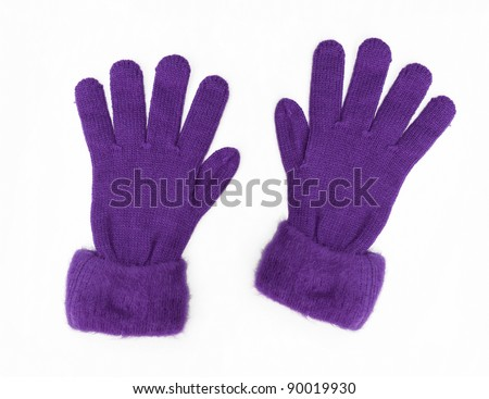 New Purple Knit Wool Gloves isolated on white background - stock photo