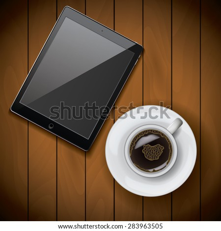 New realistic raster tablet mock up template with coffee cup on wood background, raster. - stock photo