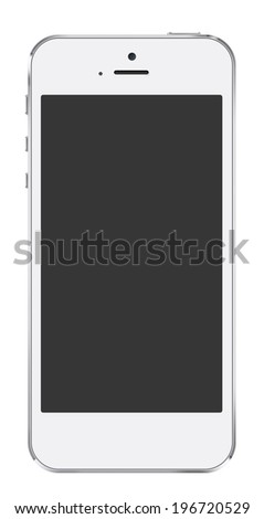 New realistic white mobile phone similar to iphon smartphone mockup with blank screen isolated on white background - stock photo