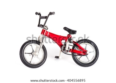 New red bicycle isolated on white background - stock photo