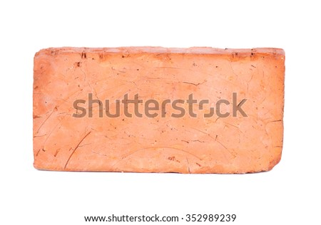 new red brick isolated on white background - stock photo