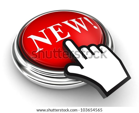 new red button and cursor hand on white background. clipping paths included - stock photo