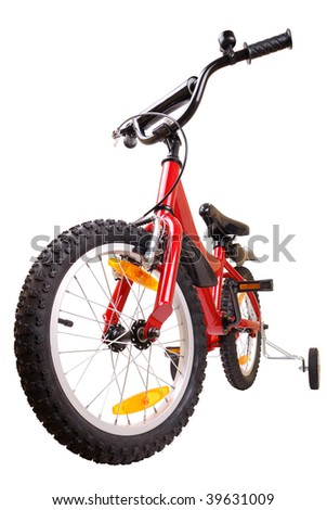 New red children's bicycle isolated on white background