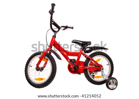 New red children's bicycle isolated on white background - stock photo