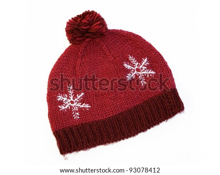New Red Knit Wool Hat with Pom Pom isolated on white background - stock photo
