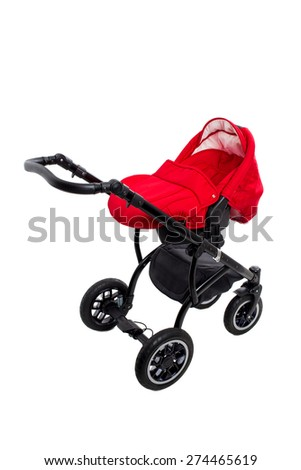 New red modern pram. Side view. Isolated on a white background. - stock photo