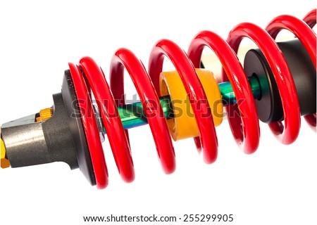 New red motorcycle suspension isolated on white background - stock photo