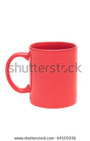 new red mug on a white background - stock photo