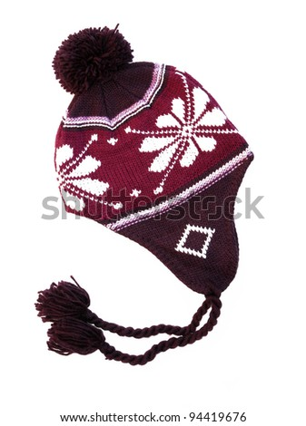 New Red / Purple knitted wool hat isolated on white background - stock photo