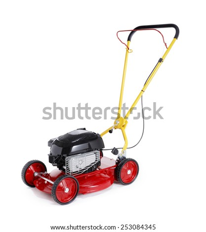 New red retro styled lawn mower isolated on white with natural shadows.