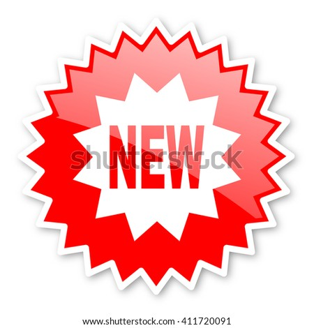 new red tag, sticker, label, star, stamp, banner, advertising, badge, emblem, web icon - stock photo