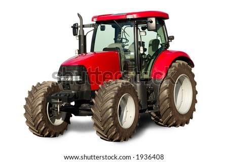 New red tractor - stock photo