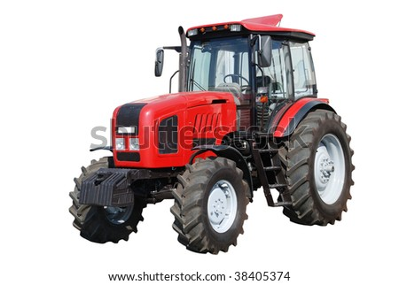 New red tractor isolated on white background - stock photo