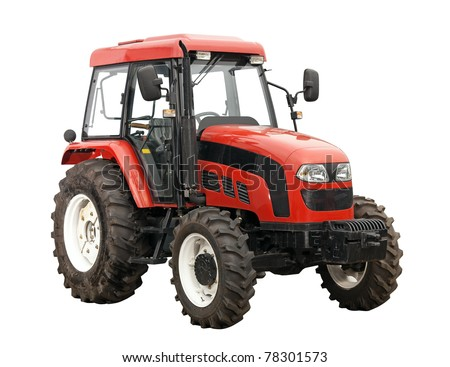 New red tractor isolated over white background. With clipping path. - stock photo