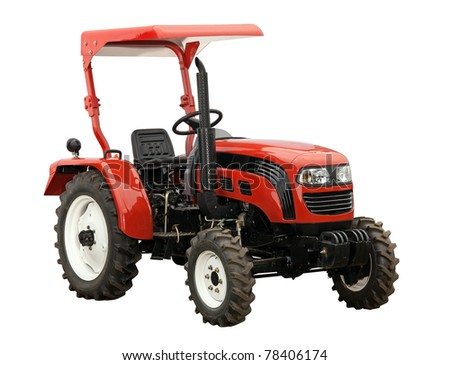 New red tractor isolated over white. With clipping path. - stock photo